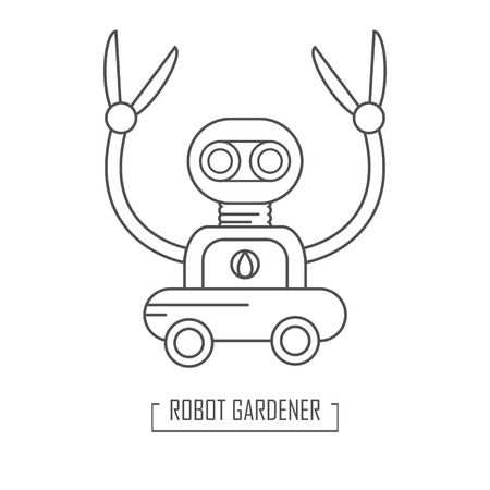 Robot garden cleaner. Vector illustration in outine style. Garden shearing. The future of the gardening industry. For web, logo. Çizim