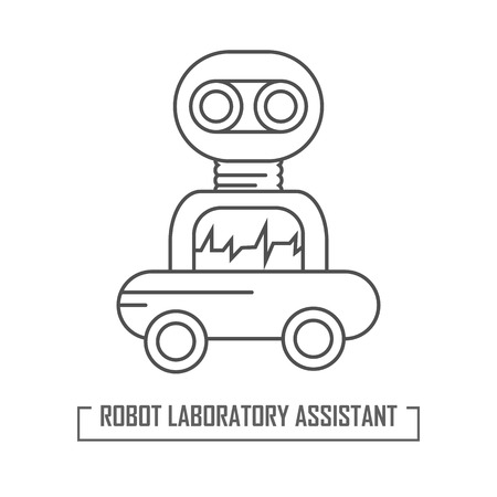 Illustration of a robot assistant in the laboratory. Logo for a modern laboratory. Vector graphics in outline style. Like icon, web element.