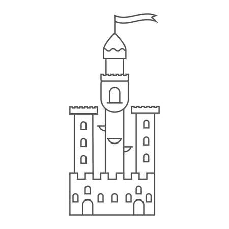 Icon medieval castle. Fairy tale tower. Vector illustration in outline style. Picture for the game. Signboard game store. House of the king. Stok Fotoğraf - 123292105
