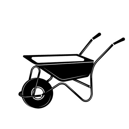 Wheelbarrow to work in the garden. Simple style vector illustration. Tool for carrying heavy objects. Logo for the site, the building company.