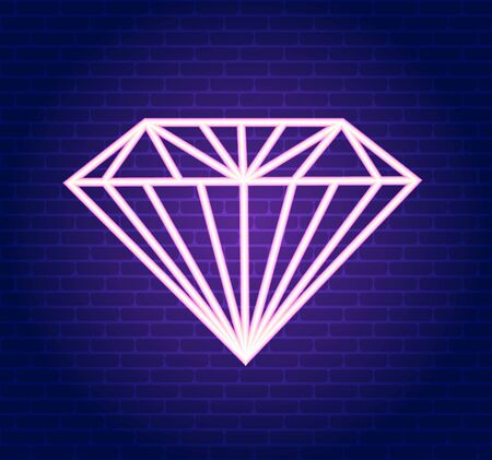 Vector pink neon diamond. Illustration of a pink diamond on a dark wall background for banner, web design.