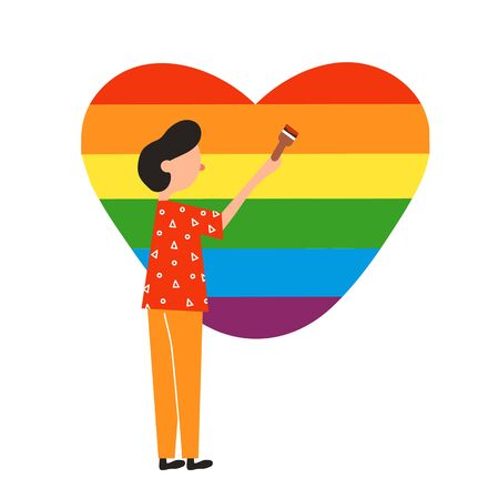 Illustration gay paints the heart in the form of a rainbow. Gender love concept. A poster for a rally against discrimination. Web design, banner.
