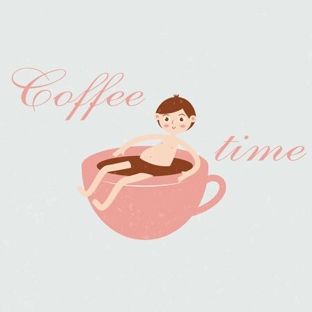 Funny illustration of a guy sitting in a cup of coffee. Inscription coffee time. Concept for signage cafe, restaurant. Pastel colors. Web design. Çizim