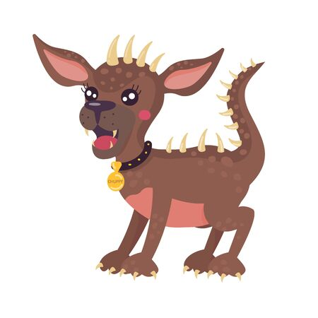 Mythical animal Chupacabra. Stylized cartoon character. Brown color, isolated object. Vector illustration for printing on clothing and childrens books.