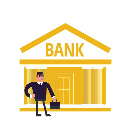 A man near the bank building. Illustration of a banker with a suitcase. Facade of a bank building in yellow. For web design, banner or poster on social networks. Illustration