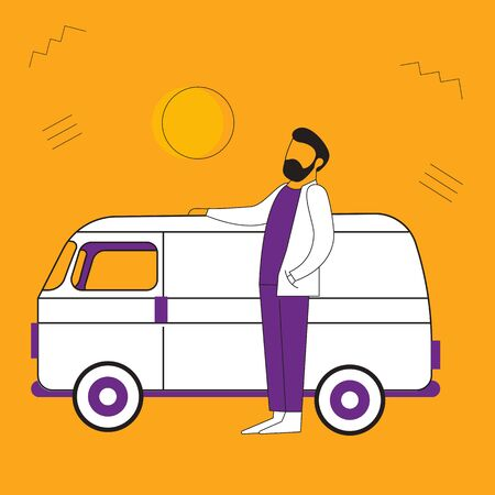 Vector illustration of a man near the car. Flat style. Multi-colored illustration. Asian male doctor near a minivan. For banners, advertising, posters. Place for text.