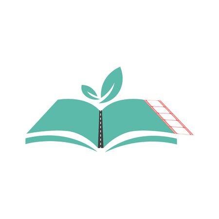 Illustrazione vettoriale di un libro aperto. Oggetto isolato. Logo per una società di libri, biblioteca. Disegno dell'icona per il web. Logo