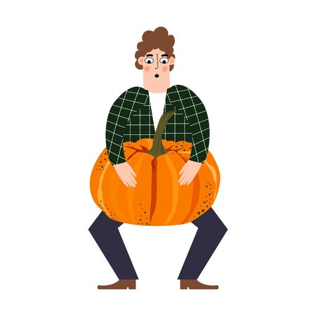 Country boy holds a big pumpkin. Cartoon character. Illustration in a flat style. Isolated object. Design for poster, banner, web page.