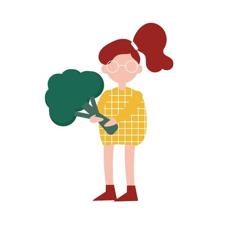 Illustration of a girl holding a big broccoli. Flat style, isolated character. Vegetarianism as a lifestyle. For poster, web banner, advertising.