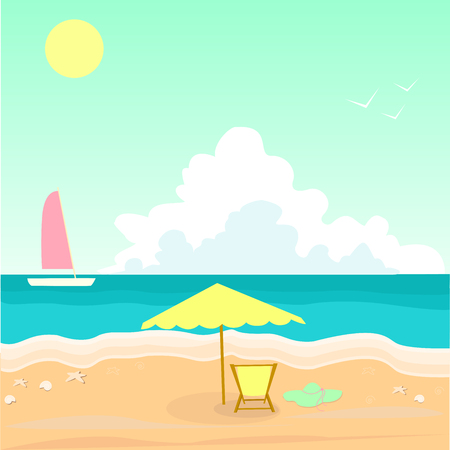 recliner: Seascape. Sea shell. White ship crimson sail of turquoise waves. Umbrella recliner turquoise color heat. Vector illustration seascape painting. Summer hot day. Sun bright sky among the clouds.
