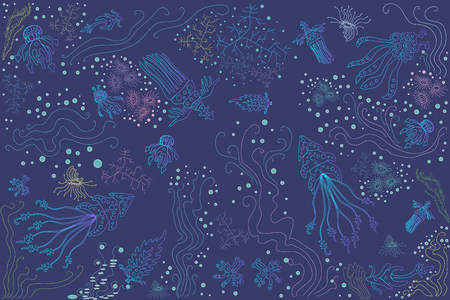 underwater fishes: A Vector bright beautiful illustration of fantastic ocean creatures jellyfish octopus corals algae rainbow with various colors and shades of blue turquoise blue violet emerald color