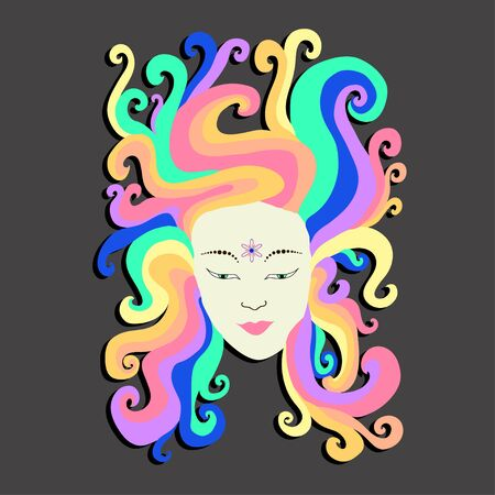 rainbow abstract: The face of a hippie girl with iridescent hair with a flower in the forehead. Rainbow vector art portrait. Cartoon psychedelic doodle style. Design futuristic girl.