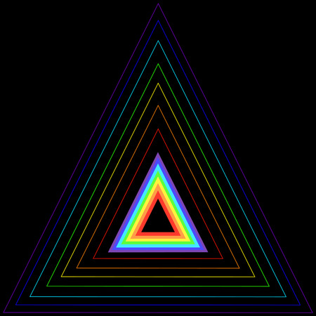 rainbow abstract: Rainbow triangle in another triangle, consisting of rainbow colors, isolated on a black background. Vector multicolor triangle
