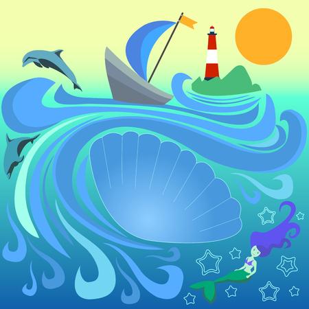 Boot met blauw zeil tussen de golven. Gestreepte vuurtoren op een eiland in de oceaan. Zeemeermin en dolfijn duiken in de golven. Vectorillustratie van een zee-landschap. Een grote zeeschelp met een plek voor tekst.