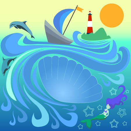 Boat with  blue sail among the waves. Striped lighthouse on an island in ocean. Mermaid and dolphin dive in the waves. Vector illustration of a sea landscape. A large seashell with a place for text.