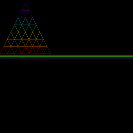 The rainbow triangle, consisting of many small triangles, consisting of the color of the rainbow, is underlined by lines of rainbow colors, isolated on a black background. Vector multicolor triangle Иллюстрация