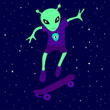 Funny aliens on skateboard. Vector illustration of a cute alien creature teenager skating in space on a skateboard amongst the stars on a blue background.
