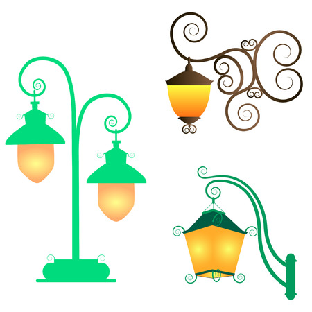 Collection street lamps isolated  white background. Figured forged street lights. Vector design vintage garden lamps. Set street fairy ornate fixtures yellow light.
