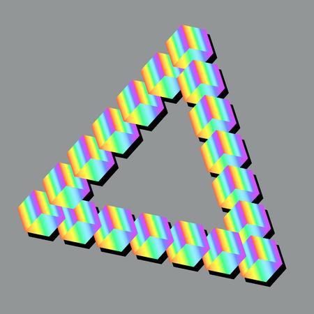 Isometric rainbow triangle isolated gray background. Vector illustration pastel multicolor triangle. Art design volumetric color triangle.