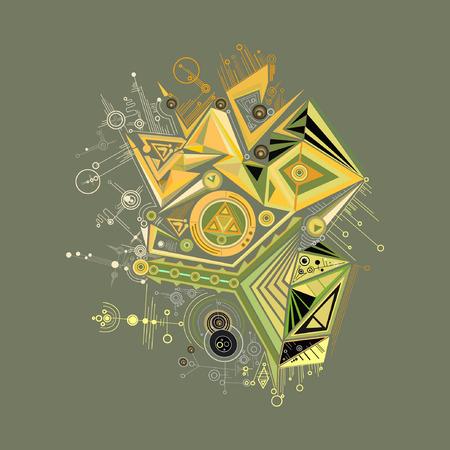 Vector, brillant, résumé, géométrique, modèle, gris, fond Vecteurs