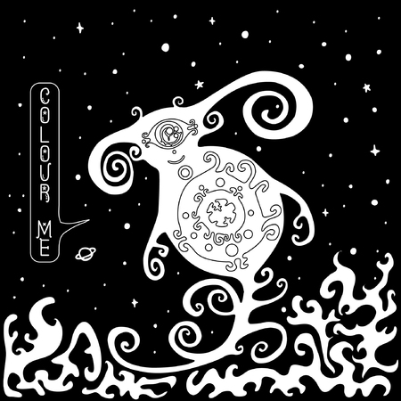 ufology: Vector, black and white, monster on the background of space Illustration