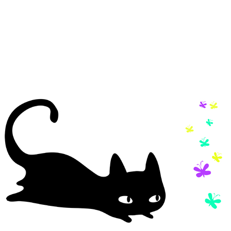 silueta de gato: Vector illustration of a little black cute kitten hunting for butterflies. Isolated on white background.