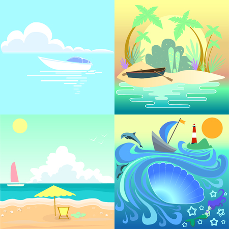 Set tropical seascape with boats beach.Collection vector illustration seascape  painting summer sunny day.Holiday islands colors  summer time.Beautiful view ocean emerald waves yacht paradise coast. Illustration