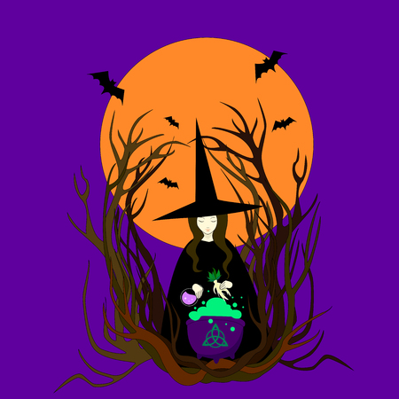 Witch hat preparing a magical potion. Halloween bats full moon mandrake cauldron. Vector illustration of a night walpurgis. Beautiful sorceress isolated against  background full moon conjures. Illustration