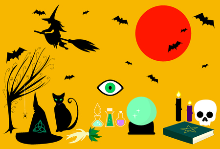Collection witches tricks. Witch craft  kit consisting  spellbook, mandrake, magic ball, pointed hat, black cat, broom, sorceress silhouette, bats, spiders, candles. Vector illustration Halloween. Illustration