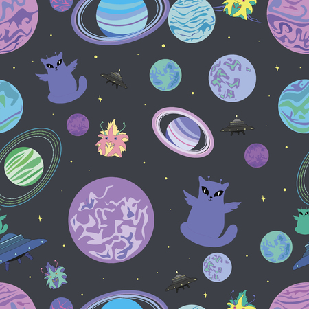 Pattern space star planet funny alien flying saucer isolated on gray background. Vector illustration of a design, cheerful alien winged cat spaceship multicolor template