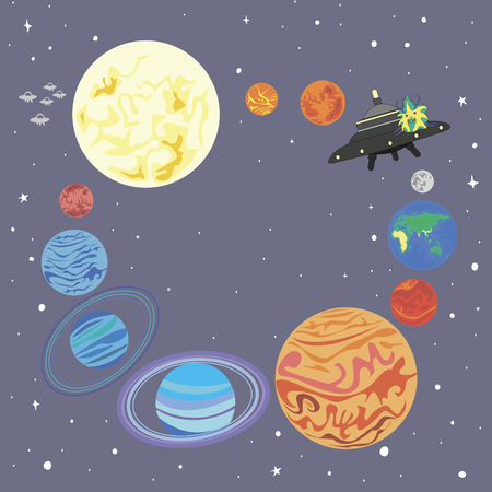 ufology: Solar system and a funny alien on a flying saucer isolated. Frame planet  solar system in a circle and a cute alien starship. Vector illustration design background space star planet and watching UFO. Illustration