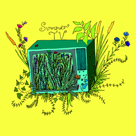 Funny art illustration, cartoon televisor with grass,flowers,foliage,isolated yellow background.Vector hand drawn,colored page for adults and children.Book,textile, print, poster, design, sticker,card