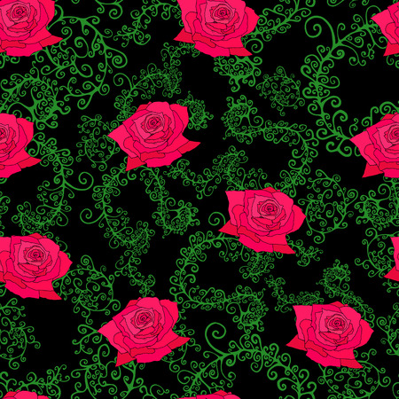 Roses, leaves, branches, seamless pattern. Vector  hand drawn. Illustration design, art book, textile, print, poster, design, fabric. Color page for adults and children.