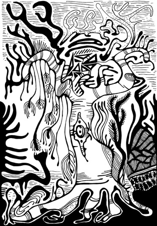 surrealistic: Black and white surreal landscape. Fantasy alien forest, isolated.Vector hand drawn illustration.Color page for adults and children. Book, textile, print, poster, design, sticker, card