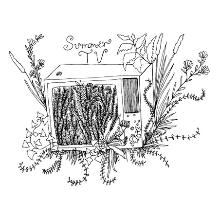 televisor: Funny black and white art illustration, cartoon televisor with grass,flowers,foliage,isolated.Vector hand drawn,colored page for adults and children.Book,textile, print, poster, design, sticker,card
