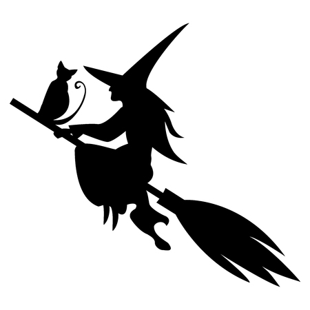 Funny magic silhouette of witch and  cat flying on broom, isolated.Black and white Halloween illustration.Vector colored page for adults and children.Book,textile, print, poster, design, sticker, card