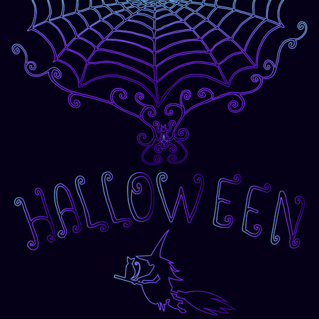 Background halloween,decorative,cobweb, witch cat broom,text, purple blue gradient outline, isolated.Vector hand drawn illustration.Color page for adults and children. Book, print, poster,design, card