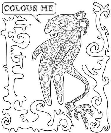 ufology: Black white, fantastic, funny, cartoon monster.Vector illustration surreal, decorative animal.