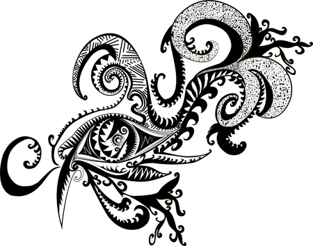 Black white, fantastic, abstract, shaman, decorative eye, isolated.Vector illustration surreal,ethnic pattern. Illustration