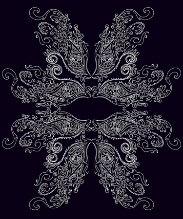 Black and white, psychedelic, surreal, graphic frame. Vector illustration shaman  background. Illustration