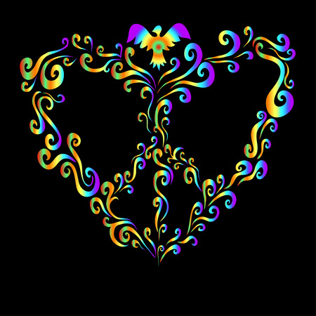 Rainbow hippy heart, with pigeons, symbol, peace. Vector illustration cartoon,psychedelic floral heart frame.