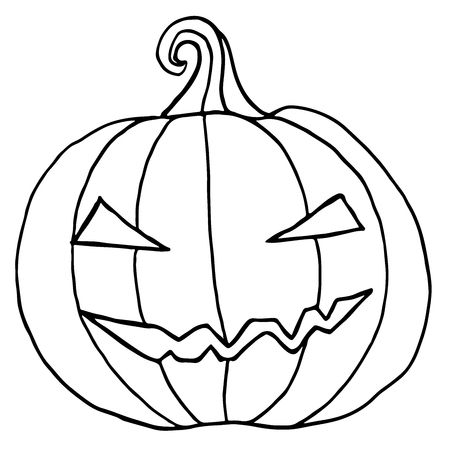 Black And White Cartoon, Evil Muzzle, Pumpkin. Halloween ...