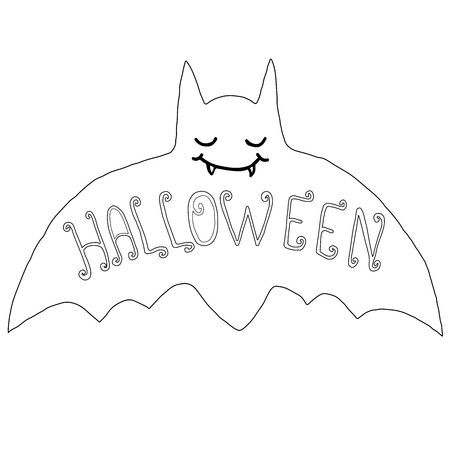 Black and white happy bat, isolated. Halloween illustration.Vector hand drawn.Color page for adults and children. Book, textile, print, poster, design, sticker, card Illustration