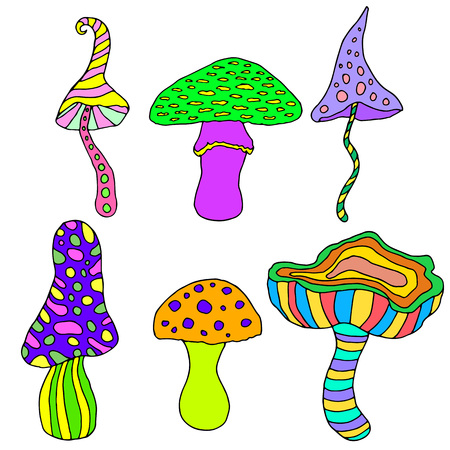 Set of fantastic, psychedelic, decorative mushrooms on a white background.Vector hand drawn color illustration.Colored page for adults and children.Design, book, textile, print, poster, fabric, card