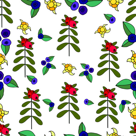 Berries, lingonberry, blueberry, cloudberry juicy forest seamless pattern.Vector hand drawn color illustration. Colored page for adults and children. Design,book,textile,print,posterfabric