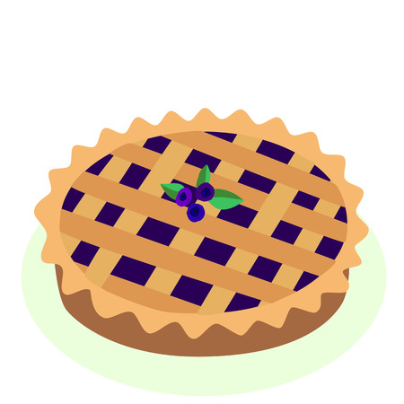 Comic style hot, freshly baked blueberry, fruit pie, cartoon vector illustration, isolated on white background. Traditional berry, fruit pie, a symbol of Thanksgiving. Çizim