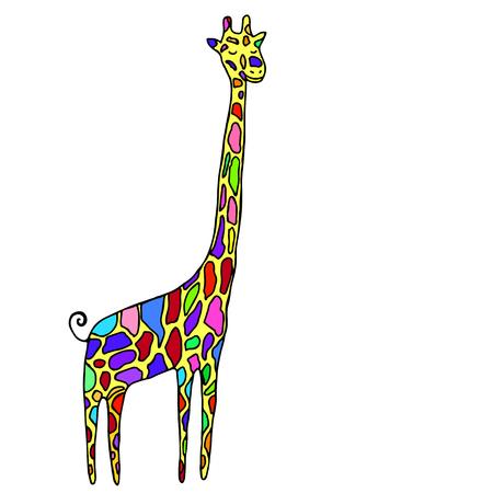 Cartoon style, small, funny animal, multicolored specks giraffe, isolated on white background. Vector hand drawn illustration. Illustration