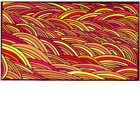 shamanic: Bright, colorful, abstraction doodle frame, cartoon pattern, lines yellow, orange, red, crimson color