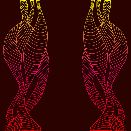 shamanic: Abstract, psychedelic frame, decorative wave and line, yellow crimson red gradient color outline on a dark claret background, isolated. Steampunk style background. Vector hand drawn illustration.