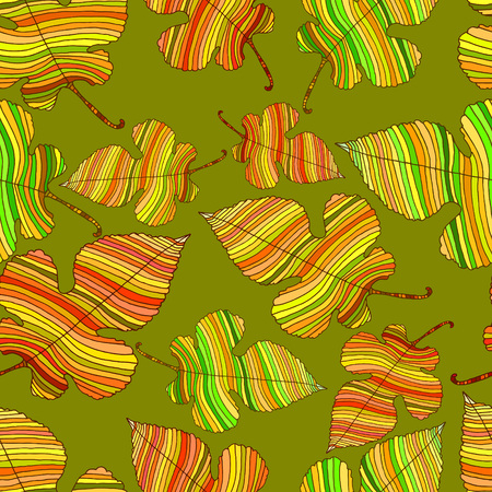 leafed: Bright, autumn leaves, seamless deciduous pattern, isolated on a green background. Foliar cartoon style. Vector hand drawn illustration. Illustration